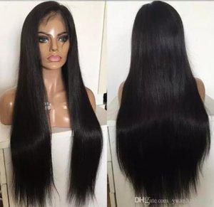 Pu encaje completo alrededor de la peluca 9a recta sedosa del cordón del pelo humano de la Virgen vietnamita con Thin Skin peluca para mujer Negro envío