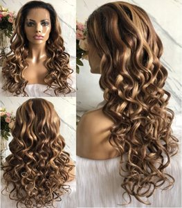 Celebrity Wigs Lace Front Wig Loose Wave 10A Omber Highlight Color European Virgin Human Hair Full Lace Wig for Black Woman Free Shipping
