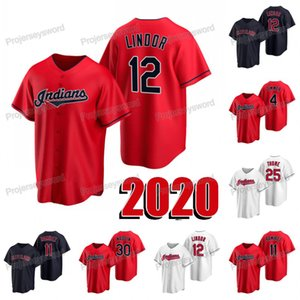 2020 New Season Francisco FLindor Jersey 4 Bradley Zimmer 11 Jose Ramirez 25 Jim Thome 30 Tyler Naquin der Frauen Männer Jugend-Baseball-Shirts
