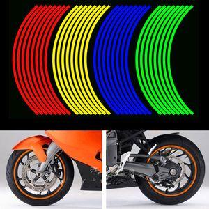 """16 tiras de bicicletas motocicleta del coche de la rueda del neumático del borde reflectante pegatinas y calcomanías de vinilo decorativo 18"""" 4 Color Car Styling Nueva"""