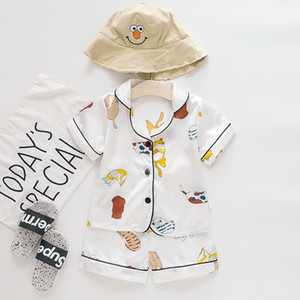 Kids Pajamas Sets Boys Girls Cartoon Bear Home Wear Kids Two-Piece Set Short-Sleeved Suit Child Home Clothes Retail