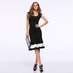 Casual Oficina mangas de la ropa de moda Mujer de Bodycon vestido de mujer atractiva de los vestidos de la sirena de la cremallera con paneles Square cuello elegante