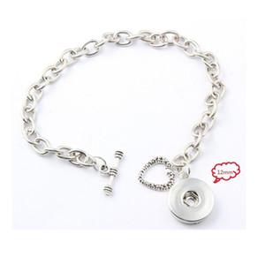 Fanshion Bijoux en argent Coeur T Bracelet chaîne en alliage Snaps Bracelets Fit for 18MM / 12MM Snaps Boutons Charms Bijoux 5pcs / lot