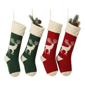 Árvore de Natal feita malha Stocking Elk Snowflake 46 centímetros Saco dos doces do partido Decoração presente Bolsas OOA7287