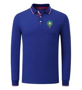 Marruecos 2020 primavera y otoño nuevo algodón del polo de fútbol camisa de los hombres de manga larga de la solapa del color sólido polo puede DIY Personalizar polo de los hombres
