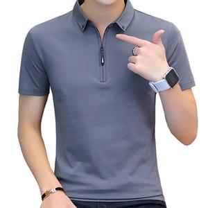 BROWON moda de verano 2020 para hombre de las camisetas del algodón del verano camiseta de los hombres de manga corta de cuello estilo coreano camiseta de los hombres CY200515 de apertura de cama