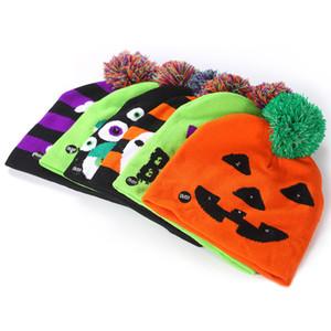 Crianças Halloween malha LED Chapéus trajes de Halloween Caps Quente bebê de Inverno Abóbora Luz Cap Partido Pompon Gorros macio Decoração Chapéus BH2249 TQQ