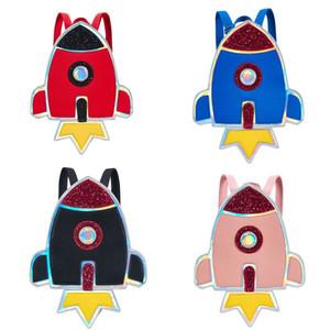 Bébé Enfants Épaules Cartable Rocket Cartoon Imperméable À L'eau Deux Épaules Sac Filles Noir Paillettes De Stockage Zipper Petits Sacs À Dos