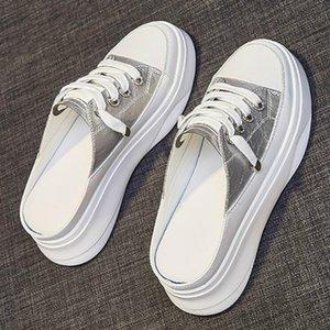 YEELOCA Chinelos por Mulheres Verão Nova Versão coreana do Sem salto grosso inferior Pedal Platform Flats mulheres brancas Sapatos Sneakers