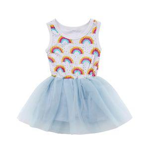 Verano cabritos del niño de la niña del partido del arco iris del cordón del mameluco del vestido del desfile del tutú de los vestidos de gasa Vestido de tirantes