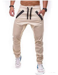 Calças Dos Homens da marca Casual Calças De Fitness Com Zíper de Tecido Calças Listradas Athletic Breath Designer Confortável Basculador Sweatpants