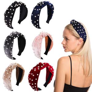 Palos de la perla de pelo de las muchachas Velet Bowknot del pelo del aro de arcos populares Stylew mujeres diadema de pelo de Navidad Accesorios 12 colores
