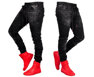 Calças de brim para homens Elegante jeans preto basculador moda elástico na cintura calças jeans Lápis Motociclista Jean Calças