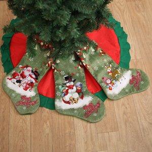 Weihnachtsstrumpf-Geschenk-Beutel 47 * 22cm Wohnkultur Ornamente Beuter 3D Karikatur druckt Sankt Elk Schneemann-Weihnachtsbaum-Anhänger Party Supplies