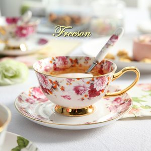 British Bone China Floral Tea Cup Saucer Spoon Set Europe Ceramic Coffee Cup 200ml Advanced Porcelain Cafe Teacup Drop Shipping