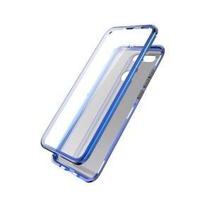 Atacado de proteção integral caso da aleta magnética para huawei honor vista 20 tela transparente de vidro temperado + moldura de metal de vidro tampa traseira