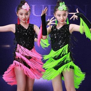 Nappe da ragazza Ballroom latino ballo vestito Bambini Stage Paillettes Jazz Outfit Performance Salsa Dance Dress costumi Guanti