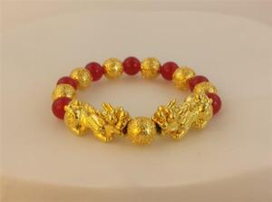 CK012 Feng Shui Red Ágata Duplo 3D Pixiu Bead pulseira trecho Mulheres Moda Pixiu Encantos Pulseira