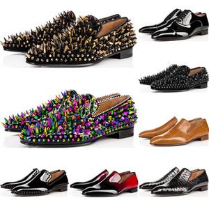 Christian Louboutin 2020 أحذية الرجال الفاخرة مصمم المتسكعون عارضة ارتفاع أحمر براءات الاختراع والجلود الانزلاق على الشقق فستان الزفاف قيعان حزب العمل الرجال أحذية رياضية