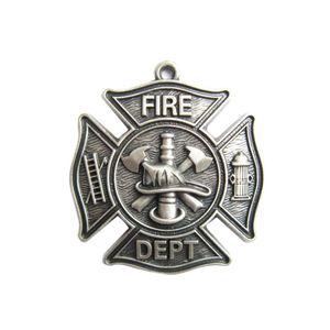 Colgante (nueva placa de plata bomberos bombero bombero del departamento colgante del encanto) Charm PENDANT-OC010SL