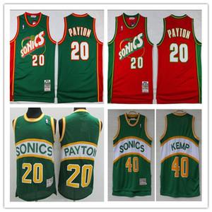 SeattleSuperSonics de baloncesto retro Allen Allen Jersey 34 35 40 Kevin Durant ShawnKemp 20 Gary Payton NBARed de oro jerseys