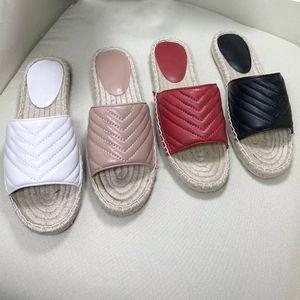New Mulheres Couro alpercatas sapatos de plataforma sandália Cord Lady Straw Sliders chinelo com o tamanho grande de metal duplo