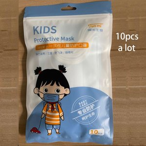 Disposable Children child Face mouth Masks 3 Layer Non-woven Meltblown Kids Mouth Mask With individual packaging 10pcs a lot Respirator
