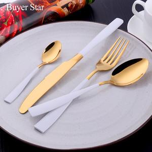 Acheteur Étoile 24Pcs en or blanc serti Flatware Couverts en acier inoxydable Set couteau fourchette Set