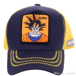 Hot Sale New Dragon Ball Z Mesh Hat Goku Baseball Cap High Quality Black & Yellow Curved Brim Snapback Cap Gorras Casquette