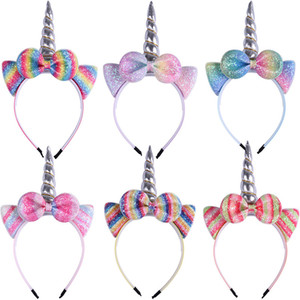 Halloween licorne Bandeau enfants Paillettes Bow Head Band New Boutique Cosplay Designer Glitter Bling cheveux Sticks Accessoires