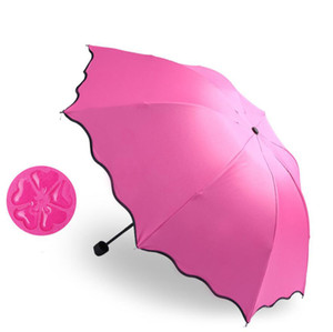 Folding Umbrellas For Women Windproof Sunscreen Magic Flower Dome Ultraviolet-proof Parasol Sun Rain Umbrella Rain Gear paraguas 6 Colors