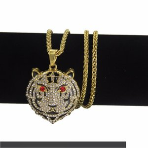 Trendy Hip Hop Jewelry Bling Tiger Head Pendant Necklace Dropshipping
