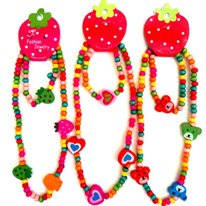 72 stücke (36 sätze) Kinder Jewerly set Mädchen Party Tasche Füllstoffe Kinder Bunte Holz Perlen Elastische Armbänder Süße Reizende Halskette