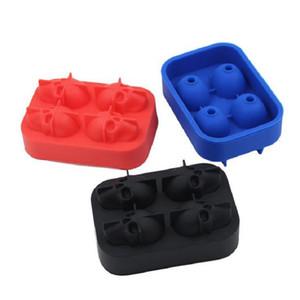 Cabeça Do Crânio 3D Ice Cube Mold 4 Grids Em Forma de Crânio Uísque Vinho Cubo De Gelo Criador De Bandeja De Chocolate Molde Bar Fontes Do Partido