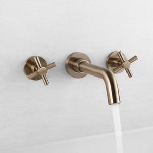 Mattes Gold überzogenes Badezimmer-Hähne in an der Wand befestigter Hahn heißer und kalter Gerät-Hahn-Doppelgriff Badezimmer-Becken-Wannen-Mischbatterie G2068
