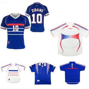 1998 Coupe du Monde France Jersey Retro Zidane Deschamps Blanc Thuram Vintage Jersey 1996 2000 2006 Henry Trezeguet Classic Soccer Jersey