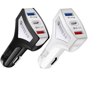 QC 3.0 Fast Rapid Quick Charging Type c 3 in 1 Dual Usb Ports Car Charger For iphone 6 7 8 x Xr Samsung s8 s9 s10 htc Android phone pc mp3