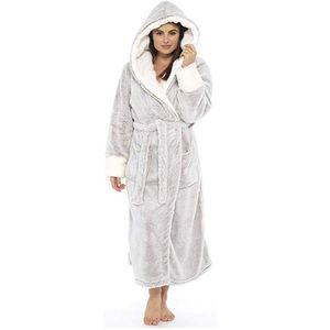 С капюшоном женщины халат зима толстые теплые фланелевые халаты плюс размер 5XL пары ночь халат двухслойные мужчины ночная рубашка