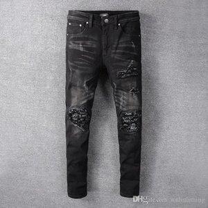 2020 new men's paint hole style luxury jeans denim pants slim fit casual Pencil jeans motorcycle Hip Hop mens designer joggers