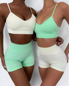 Women Yoga Short Sleeved Trousers Seamless Yoga Clothes Pants and Tops Suspender Suit New Women Biker Shorts
