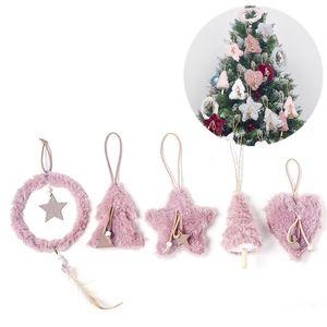 Creative peluche Arbre de Noël Pendentif Hanging Rose Blanc Coeur étoile plume Boule de Noël Décoration de Noël pour la maison