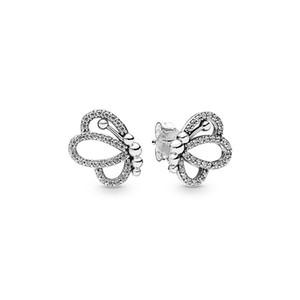 2019 новое прибытие 925 стерлингового серебра серьги для Pandora бабочка контуры серьги роскошные дизайнерские женские серьги оригинальный комплект коробки