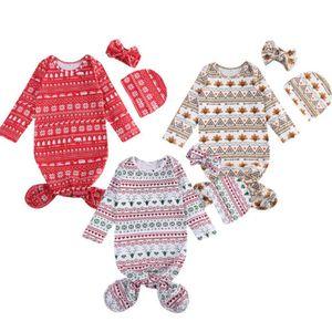 Noël Nouveau-né Enfants bébé garçon petites couvertures Sleepbag + chapeau + Bandeau Set de Noël