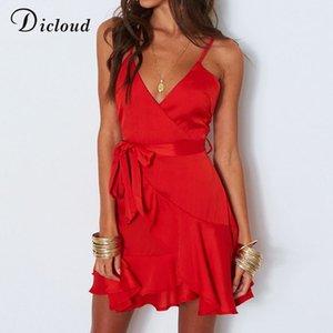 robe de soirée en gros satin rouge d'été femmes dos nu sexy v cou mini plage robe d'été blanche casual streetwear robe de Noël