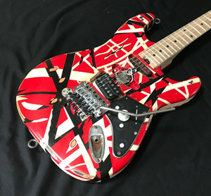 Aged Relic Eddie Van Halen listrado Series Red Preto Frankenstrat Guitarra Branco Modificado Reliced ​​Vintage Electric Guitars w / Gabinete