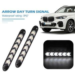 2x Автомобильный светодиодный дневной свет Последовательная стрелка с указателем поворота