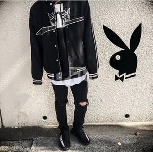 Mode-Uni-Jacken-Kaninchen-Baseball-Trikot Cardigan beiläufige Baumwolle Hip Hop Fashion High Street Männer Frauen Paar Jacke Jacke HFSSJK125