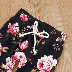Roupa do bebé menina Set 3Pcs infantil Meninos Meninas Floral impressão da camisa do pulôver Tops Calças + Moda + hairbands Outfits