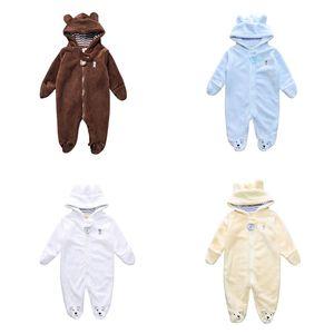 Baby Kids Rompers Otoño Casual Coral Velvet Zipper Monos con capucha Niños Designe Boy Clothes Girl Winter Rompers 07