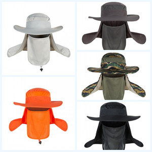 DHL Shipping Full Face Protection Cap Garden Travel Lawn Work Outdoor Sports Hiking Hats Neck Flap Unisex Fishing Hat 10 Colors X181FZ